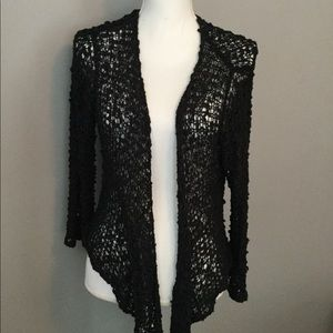 Crochet Look Black Sweater